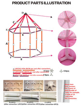 Load image into Gallery viewer, Children's Princess Pink Castle Tents. Portable play areas for Boys and Girls. Indoor and Outdoor Garden Folding Play Tent and available accessories.