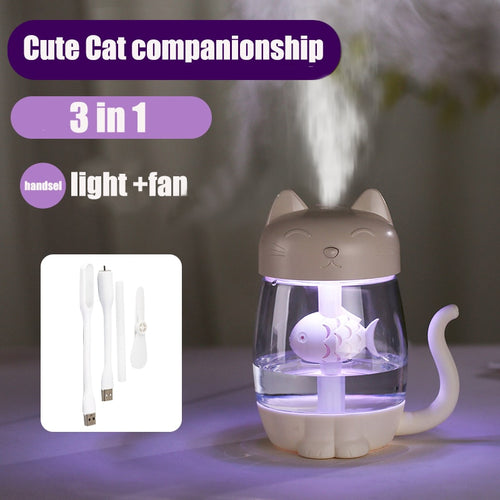 MH-Adorable! 3 in 1 350ML USB Cat Air Humidifier Ultrasonic Cool-Mist Adorable Mini Humidifier With LED Light Mini USB Fan for Home office