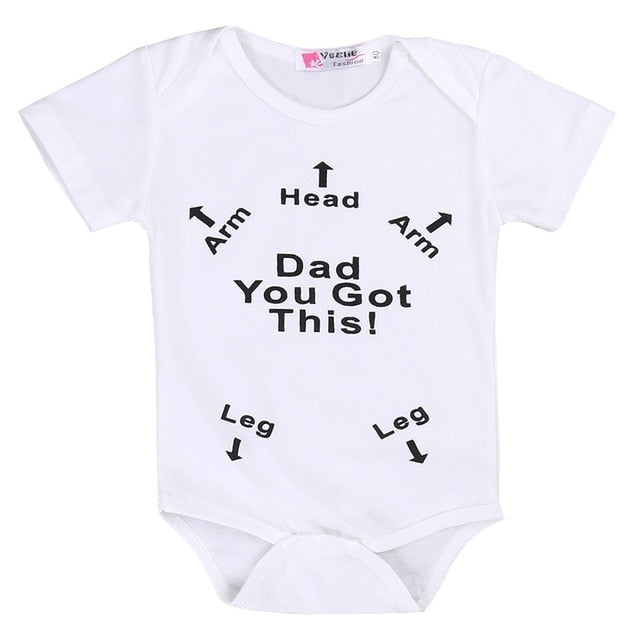 Summer Newborn Baby Boy Girl t-shirt.  Important instructions to help any new Father.