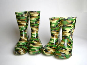 Children's Rain shoes Camouflage Medium Tube Rain Boots Non-slip Waterproof PU Rainboots Size 25-34.