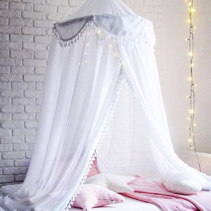 Little Fairy Bed Canopy Dome Baby Girl Net Curtain Lotus Leaf Flaps With Dot Tassel Bedding Valance.