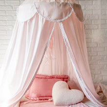 Load image into Gallery viewer, Little Fairy Bed Canopy Dome Baby Girl Net Curtain Lotus Leaf Flaps With Dot Tassel Bedding Valance.