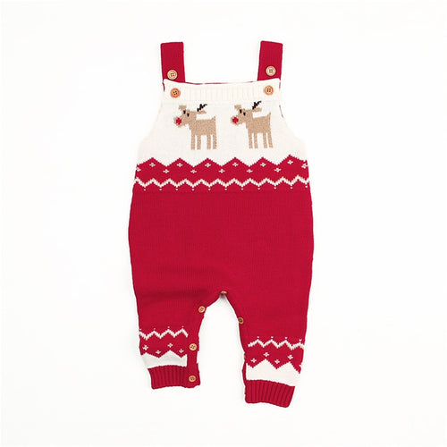 Babies 6 months to 24 months reindeer overalls in comfortable knit all dressed up for Christmas.