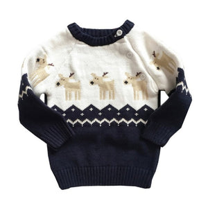 Christmas Winter Sweater for Girls and Boys Thick Knitted Bottoming O-Neck Pullover.