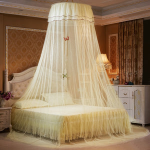 Elegant Round Lace Netting Bed Canopy. Every Age a Princess Curtain Dome for Peaceful Comfort.