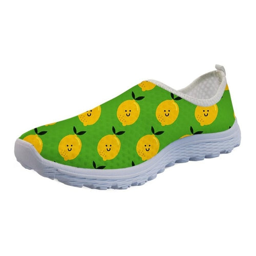 Mesh Flat Shoes Women's Funny 3D Print Lemon Shoes for Adult Child Breathable Slip On Footwear.