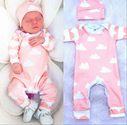 2 PCS Cute Newborn Baby Girl White Clouds long sleeve Pink Romper + Hat Outfit.