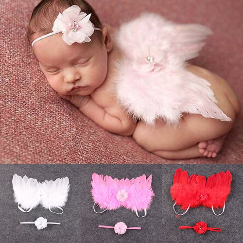 BAB- Fashion Newborn Baby Kids Feather Lace Headband & Angel Wings Flowers