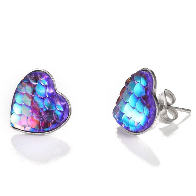 New Tiny Colorful Heart Love Design Stud Earring For Women Fashion  Pattern Earring