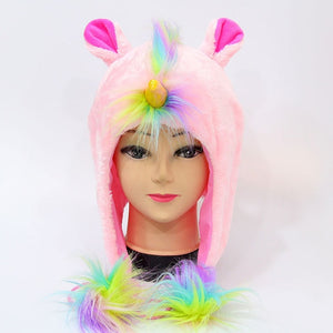 Winter  Warm Animal Cap Unicorn Cute Cartoon Soft Plush Hood Hat Beanies Earmuffs With Short Scarf Gloves For Women/Men/Child
