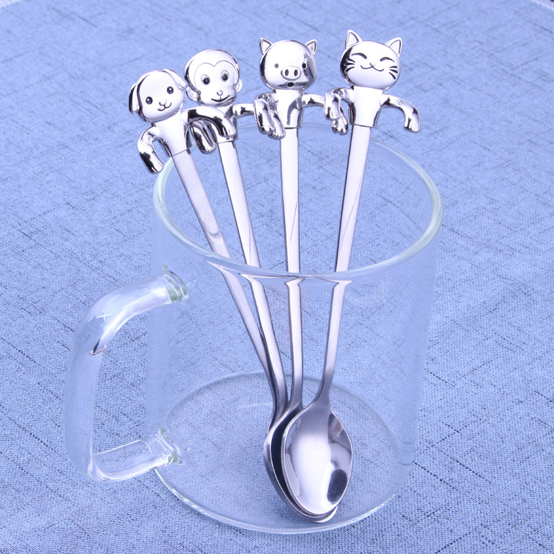 SP- Set of 4 adorable animal shape tea spoon stainless steel cartoon cat long handled coffee spoon for ice cream dessert spoon