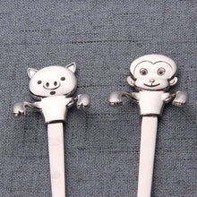 Load image into Gallery viewer, SP- Set of 4 adorable animal shape tea spoon stainless steel cartoon cat long handled coffee spoon for ice cream dessert spoon