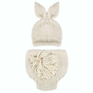 BAB- Newborn Baby Clothes Girls Boys Crochet Knit  Carrot or Bone sold separately for decor Rabbit Baby Caps Hats