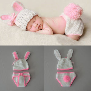 BAB- Hand Made Newborn Baby girls and boys Pants Knit Hat Set Cute Baby Hand Made Crochet