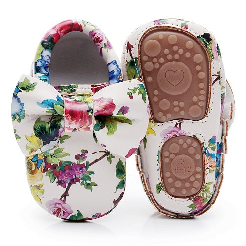 SH- Fashion Floral printing hard sole toddler moccasins first walker shoes PU leather cute bow baby girls shoes infant walk shoes