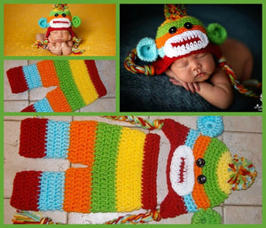 Handmade Baby Boy Hat / Pant Set Newborn Baby Boy Colorful Crochet knit Sock Monkey Hat With Ear Flaps