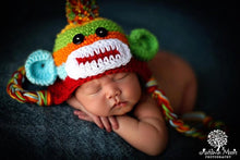 Load image into Gallery viewer, Handmade Baby Boy Hat / Pant Set Newborn Baby Boy Colorful Crochet knit Sock Monkey Hat With Ear Flaps