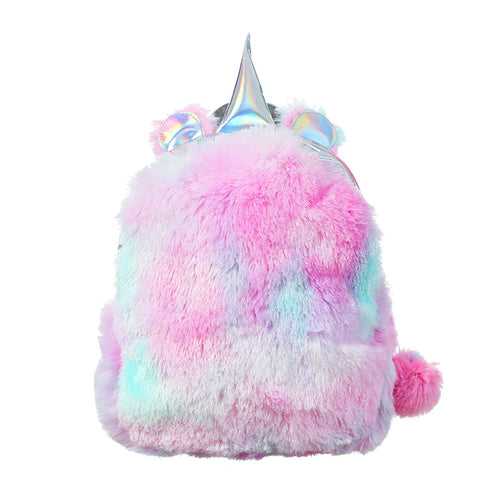 BP- 2019 Rainbow Unicorn Sequin Mini Backpack Toddler Girls' Pink PU Leather Backpacks Silver Plush Fluffy Glitter Bag for Girls
