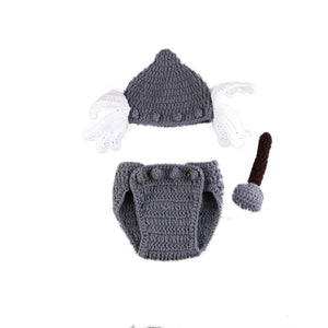 Superhero Newborn knitted Baby Winter Hat Costume for viking babies.