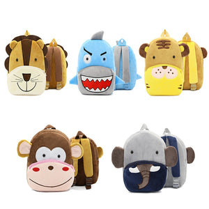 BP- Animal Plush Backpack Cartoon School Shoulder Bag Kid Snack Plush  Soft Baby Monkey, Lion,Tiger, Shark, and Elephant