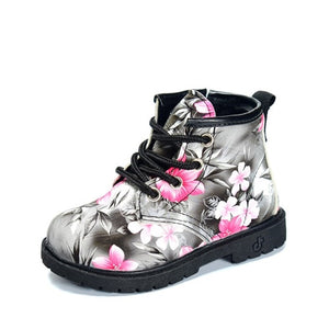 SH- 2019 Girls Boots PU Leather Waterproof Kid Boots Flower Design