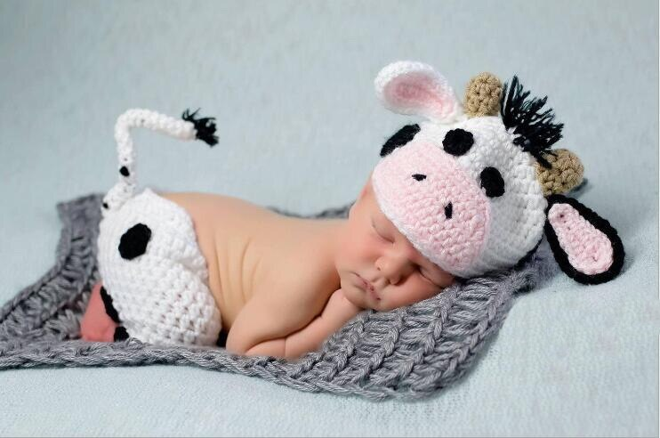 Mooo, Baby Cows with huge beautiful ears Handmade  Costume Knitted outfit.