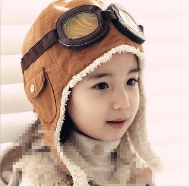 HAT- Child Pilot Aviator Hat Earmuffs Beanies Kids Autumn Winter Warm Earflap Ear Protection Cap Child Accessories