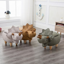 Load image into Gallery viewer, Dinosaur Shape Creative Wooden Footstool Sturdy  Bench Sofa with Bronzing Fabric Wooden Legs Multicolor