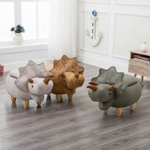 Dinosaur Shape Creative Wooden Footstool Sturdy  Bench Sofa with Bronzing Fabric Wooden Legs Multicolor