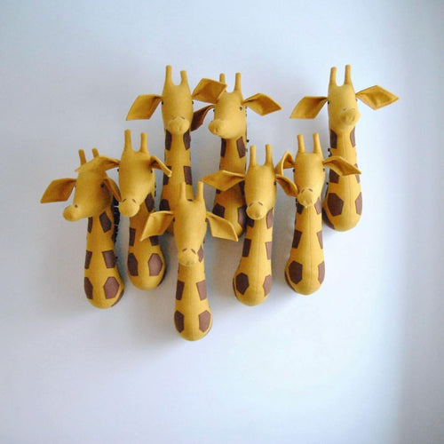 Stuffed Animals Giraffe Felt Wall Mounted Animal Head Safari Wall Hanging