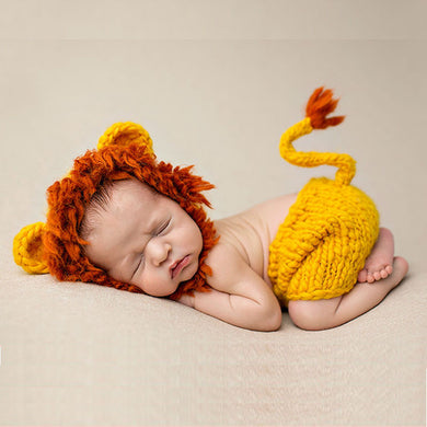 BAB- Hand made 2019 New  Cute Lion Baby Hats Newborn Soft Hand-knit Animal Baby