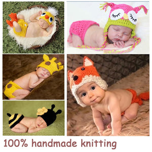 Soft Handmade Crochet Cotton Newborn Baby Knitted For 0~12 Months Babies Hats Sets