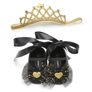 SH- Toddler Baby Girls Shoes Soft Sole Crib Newborn Baby Lace Bow Princess Shoes+Headband 2Pcs Set Infant Cute Party First Walkers