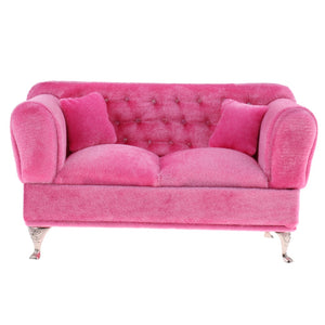 1/6 Scale Pink Double Couch Long Sofa Model for  Dolls High quality Fashion Dollhouse Furniture.