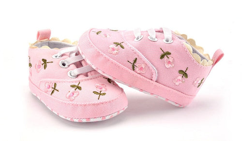 Baby Girl Shoes White Lace Floral Embroidered  Prewalkers.