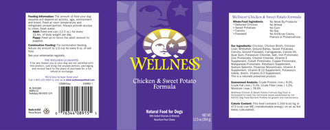Wellness Complete Health Natural Chicken and Sweet Potato Recipe Wet Canned Dog Food