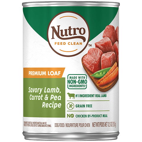 Nutro Premium Loaf Grain Free Savory Lamb, Carrot & Pea Adult Canned Dog Food
