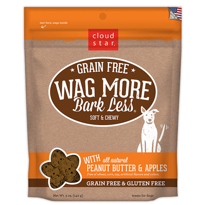 Cloud Star Wag More Bark Less Soft and Chewy Grain Free Peanut Butter and Apples Dog Treats