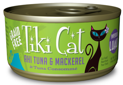 Tiki Cat Papeekeo Luau Grain Free Ahi Tuna And Mackrel In Tuna Consomme  Canned Cat Food