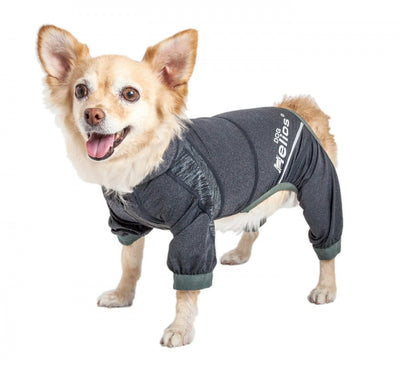 Pet Life Dog Helios Namastail Charcoal Black Full Bodied Performance Breathable Yoga Dog Hooded Tracksuit
