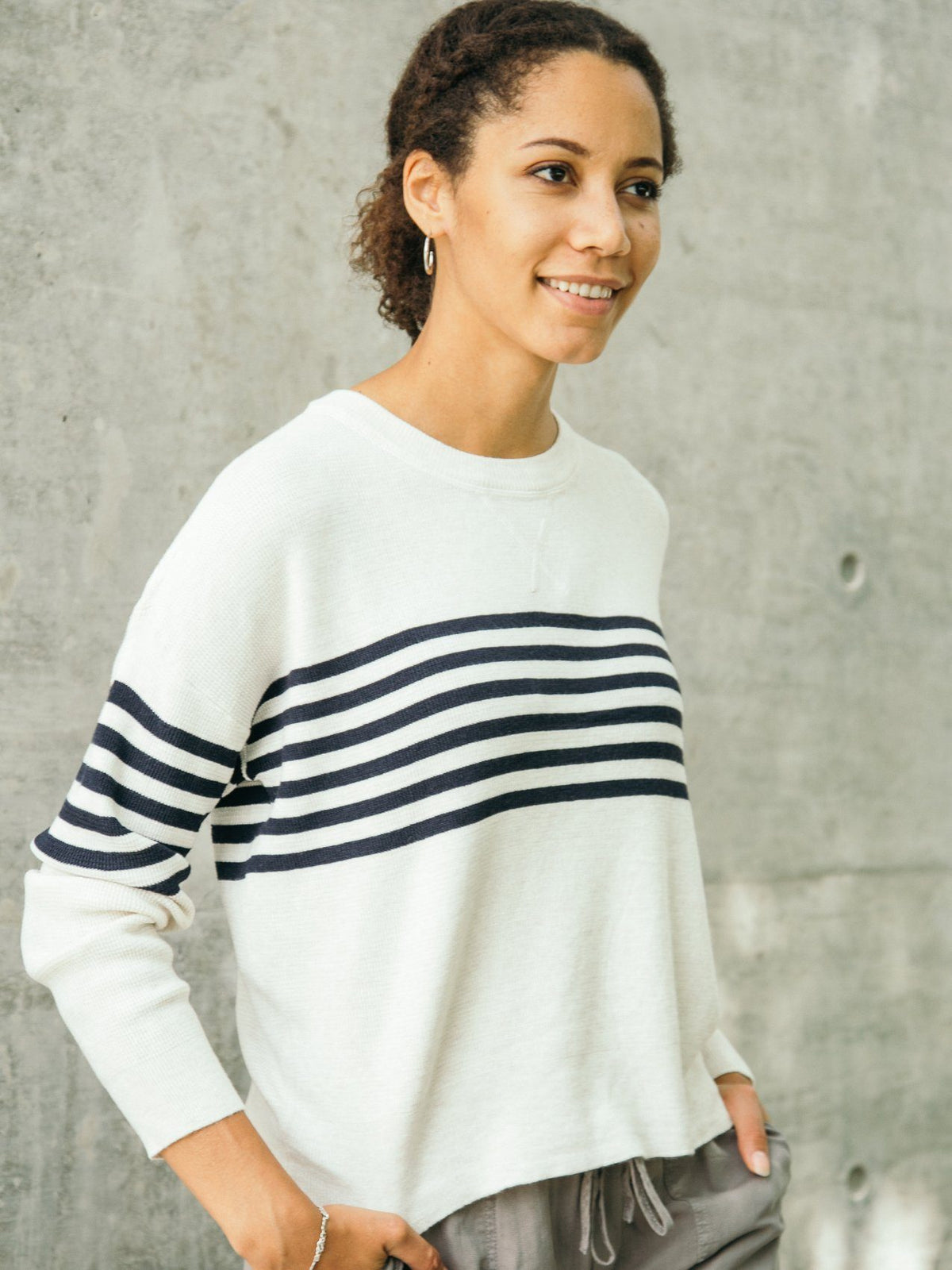 James Thermal Long Sleeve Long Sleeve Thread & Supply IVORY NAVY STRIPE S