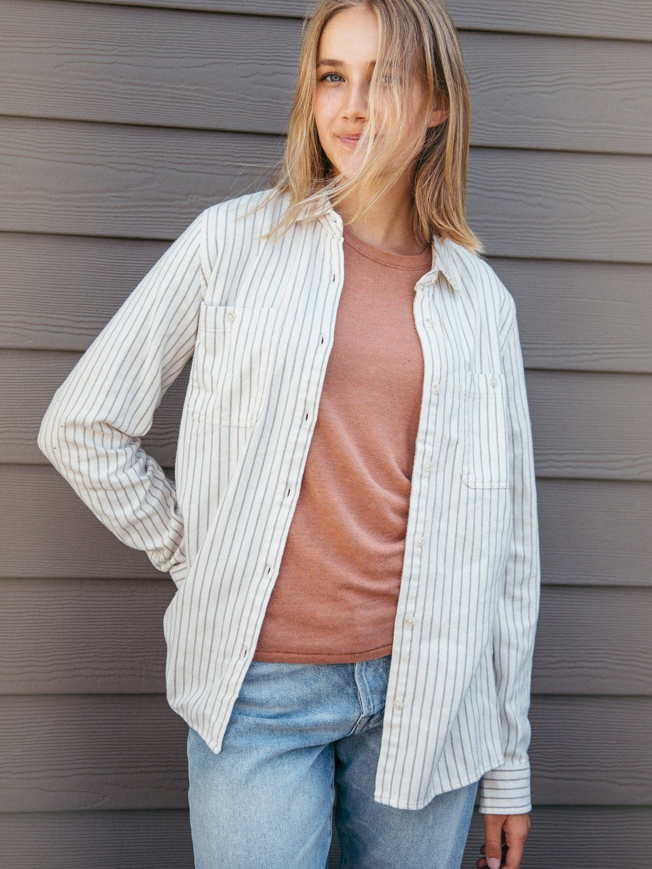Roya Shirt Tops Thread & Supply Ivory Grey Stripe S