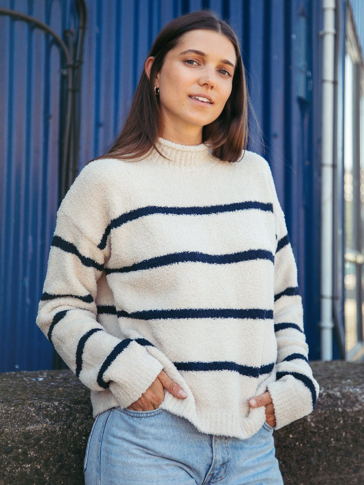 Rue Sweater Sweater Thread & Supply Ivory Navy S
