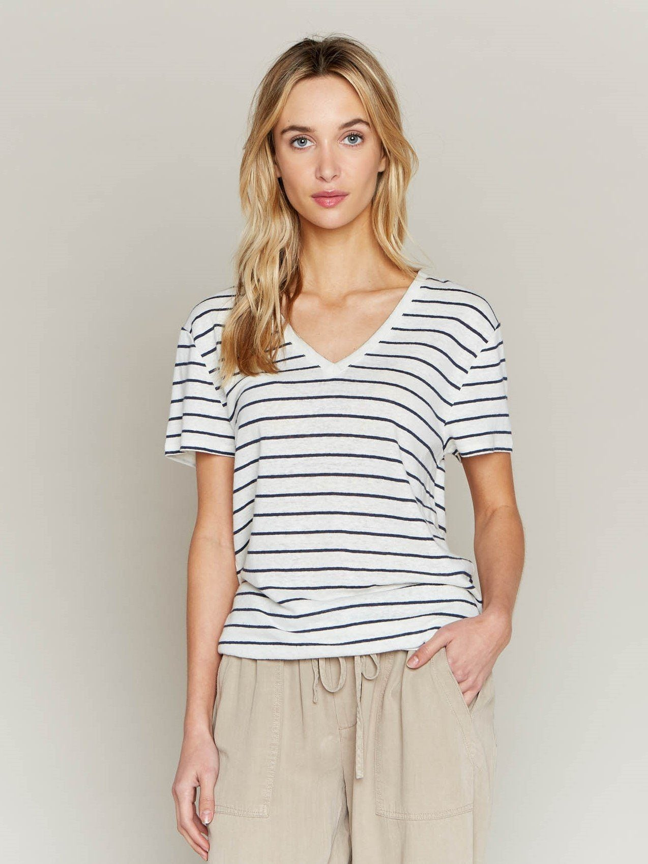 Cordelia Tee T-Shirt Thread & Supply Ivory Navy S