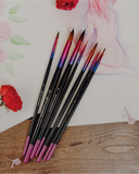 Full Set 7pcs - Luxury Synthetic Kolinsky Sable Hair Watercolour Paintbrushes // Size 0, 1, 3, 5, 7, 9, 11