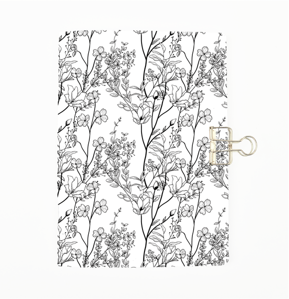 Black and White Vine Flowers Cover Traveler's Notebook Insert - All Sizes and Patterns C022