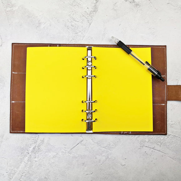 Bright Yellow, All Sizes, Plain or Dot Grid, PRINTED AND PUNCHED Filofax Paper Insert - 30 Pages
