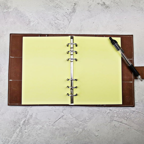 Pastel Yellow, All Sizes, Plain, Dot or Grid, PRINTED AND PUNCHED Filofax Paper Insert - 30 Sheets