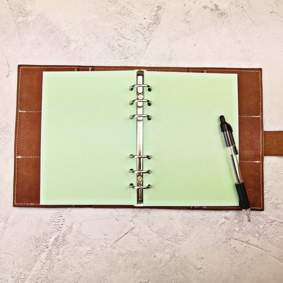 Pastel Green All Sizes, Plain, Dot or Grid, PRINTED AND PUNCHED Filofax Paper Insert - 30 Sheets