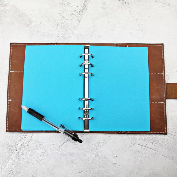 Bright Blue All Sizes, Plain, Dot or Grid, PRINTED AND PUNCHED Filofax Paper Insert - 30 Sheets